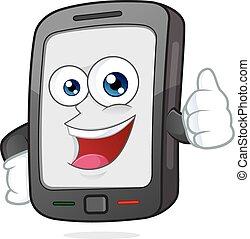 donner, smartphone, pouce haut