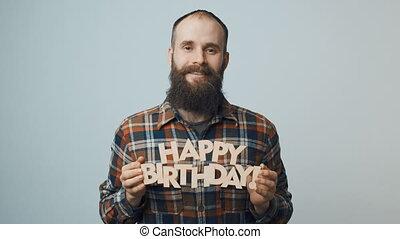 donner, texte, projection, anniversaire, hipster, vous, homme, heureux