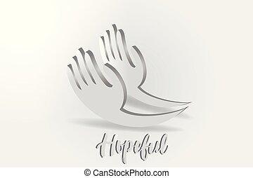 donner, vecteur, logo, mains, espoir, charité