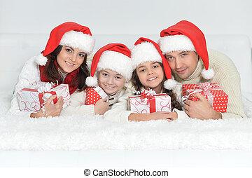 dons, chapeaux, santa, famille