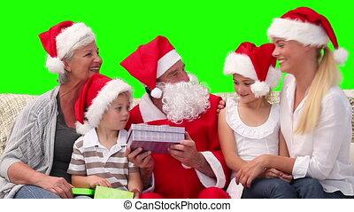 dons, claus, santa, offrande, famille