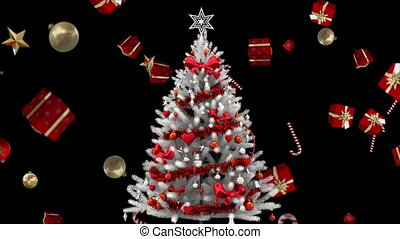 dons, décorations, arbre, noël, tomber