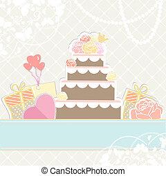 dons, gâteau, anniversaire, ou, mariage