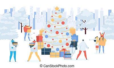 dons, gens, illustration., noël, arbre hiver, vecteur, fetes