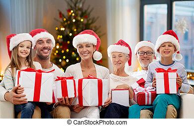 dons, maison, noël, famille, heureux