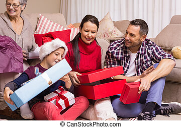 dons, noël, ouverture, ensemble, famille, heureux