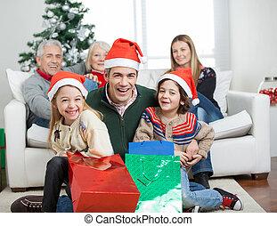 dons, pendant, noël, famille, heureux
