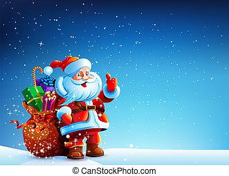 dons, sac, claus, neige, santa