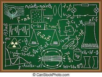 doodles, équations, tableau, physique