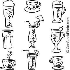 doodles, boisson, divers, collection, stockage