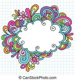 doodles, cadre, psychédélique, nuage