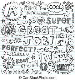 doodles, encouragement, mots, priase