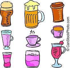 doodles, ensemble, boisson, divers, collection