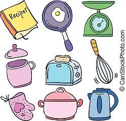 doodles, ensemble, collection, coloré, cuisine