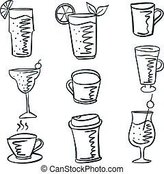 doodles, ensemble, divers, boisson