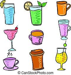 doodles, ensemble, divers, coloré, boisson