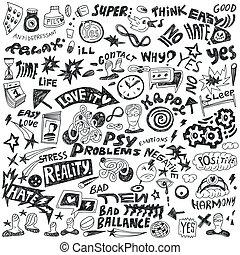 doodles, ensemble, -, psychologie