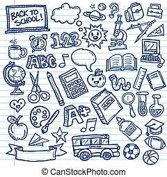 doodles, freehand, école