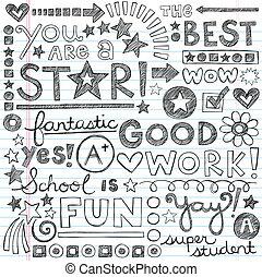 doodles, grand, travail, école, éloge
