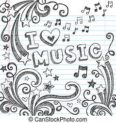 doodles, notes, vecteur, musique, sketchy