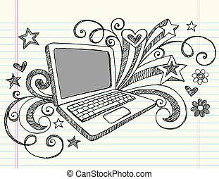 doodles, ordinateur portatif, sketchy