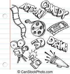 doodles, papier, cahier, divertissement