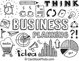 doodles, planification, elements affaires