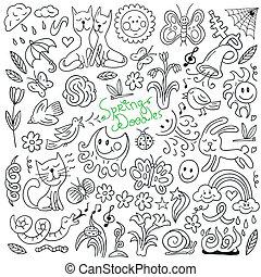 doodles, printemps, -