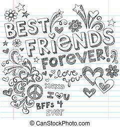 doodles, sketchy, vecteur, amis, mieux