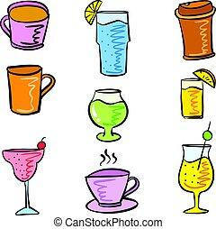 doodles, style, boisson, divers, ensemble