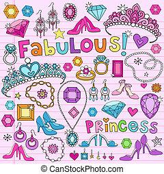 doodles, vecteur, ensemble, princesse
