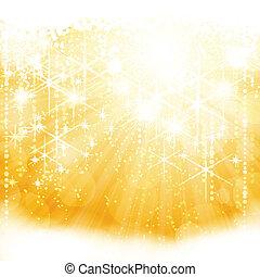 doré, éclater, lumière, résumé, étincelant, lumières, étoiles, flou