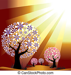 doré, éclater, lumière, résumé, arbres, fond