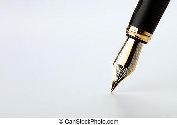 doré, écrit, stylo, fontaine, fond, blanc