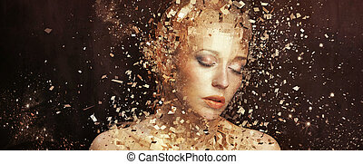 doré, éléments, art, splintering, photo, femme, milliers