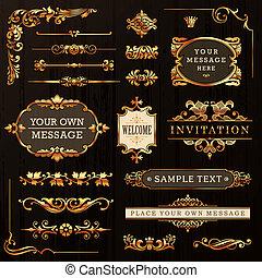 doré, éléments, conception, calligraphic