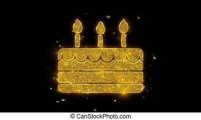 doré, étincelles, feux artifice, élément, particules, écrit, bougie anniversaire, heureux