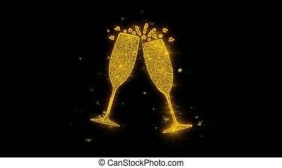 doré, étincelles, feux artifice, particules, verre, écrit, anniversaire, vin, heureux