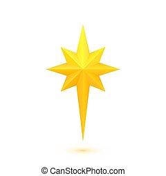 doré, étoile brillante, noël
