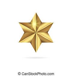 doré, étoile, réaliste, isolé, arrière-plan., blanc, 3d, icône