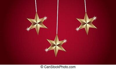 doré, étoiles, noël, pendre, joyeux, heureux, animation