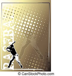 doré, 2, base-ball, fond, affiche