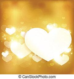 doré, amour, fond, coeur, lumières, incandescent, étoiles