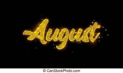 doré, août, étincelles, feux artifice, typographie, particules, écrit