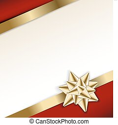 doré, arc, arrière-plan rouge, ruban blanc