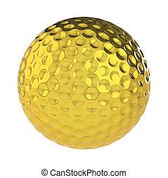doré, balle, golf