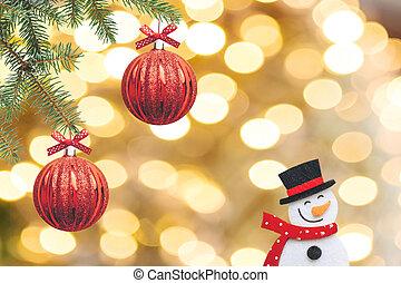 doré, balles, branches, arbre, arrière-plan., décoré, noël, rouges