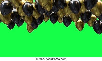 doré, ballons, écran, plafond, noir, arrière-plan vert