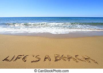 doré, beach?, écrit, ?life, plage, sablonneux