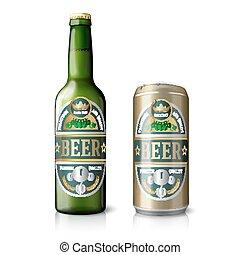 doré, bière, vert, boîte, bouteille
